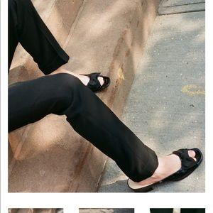 Ferragamo Open Toe Patent Leather Slides/ Mules 10